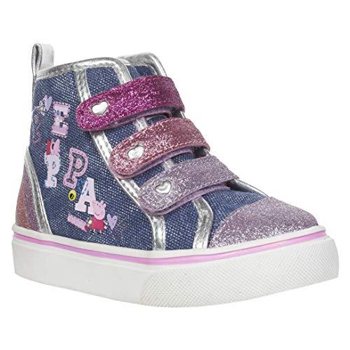 Peppa Pig Denim High Tops for Toddler Girls Blue/Pink (Blu Skirt Tennis)
