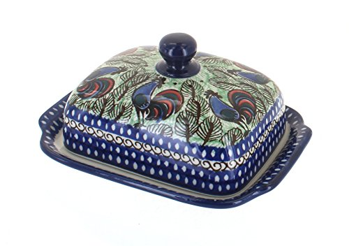 Blue Rose Polish Pottery Rooster Row Butter Dish