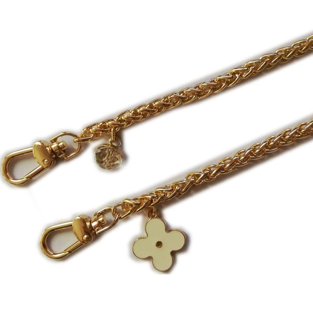 Diameter 8mm Metal Golden Chain For Replacement Purse Strap / Handle DIY ( White Clover Rhinestone Charms ) (Length 47 Inch) Shenzhen Honest Chenxi Trading Company Ltd