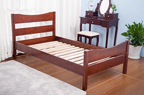 Merax Wood Platform Bed Frame with Headboard / No Box Spring Needed / Wooden Slat Support / Espresso Finish (-Walnut-)