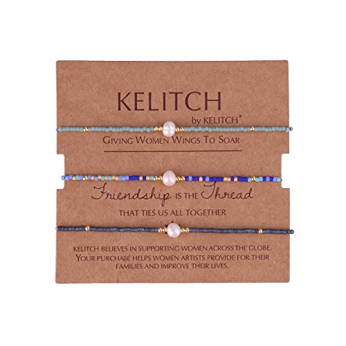 KELITCH 3 Pcs Shell Pearl Seed Beads Friendship Bracelets Handmade Adjustable String Bracelet #N