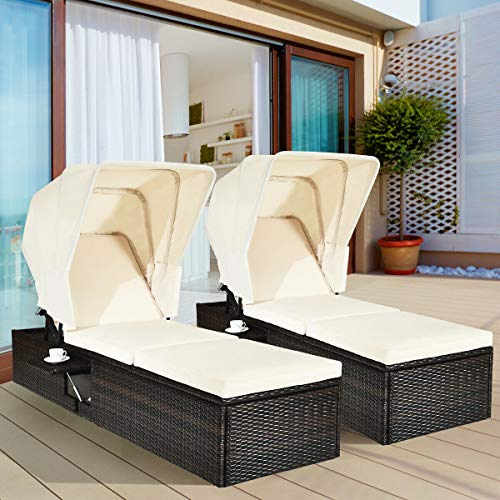 Tangkula Outdoor Chaise Lounge Chair with Folding Canopy, Adjustable Cushioned Reclining Chair with Flip-up Tea Table, Rattan Sun Lounger for Beach Poolside Backyard Balcony Porch 2