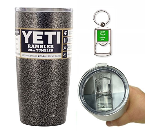 YETI Coolers 20 Ounce (20oz) (20 oz) Custom Rambler Tumbler Cup Mug with Exclusive Spill Resistant Lid and Bottle Opener Keychain (Silver Vein)