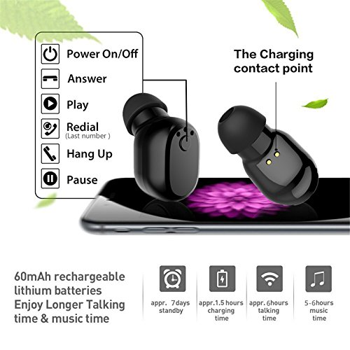 Padear Mini Invisible Bluetooth Earbud,V4.1 Stereo Wireless Bluetooth Earphone with Built-in Mic, Sports Noise Cancelling In-ear Earphone For Iphone Samsung And Other Android Phones (black) by padear (Image #4)