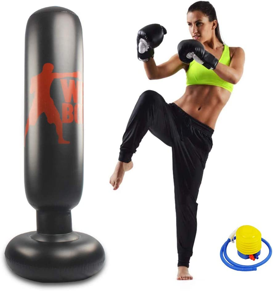 Inflatable Punching Bag Free Standing 63inch Boxing Target Bag for Kids and Adults Boxing Punching Training Bag for Relieving Pressure