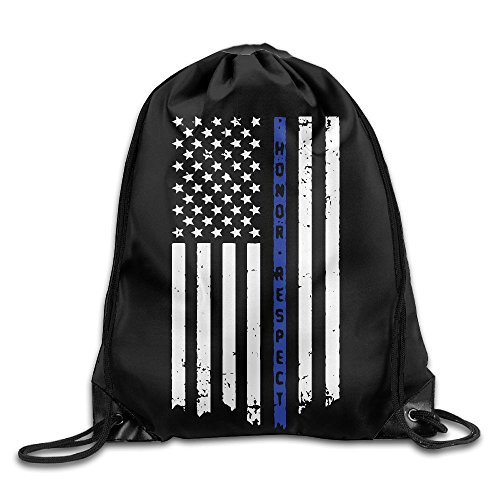 Honor & Respect Thin Blue Line Flag Drawstring Backpack Bag Beam Mouth Gym Sack Shoulder Bags For Men / Women from 05_&_NG