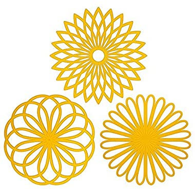 ME.FAN 3 Set Silicone Multi-Use Flower Trivet Mat - Premium Quality Insulated Flexible Durable Non Slip Coasters Hot Pads Yellow