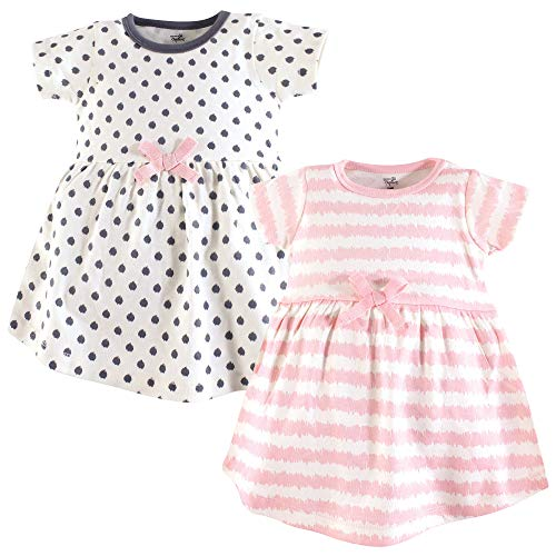 Touched by Nature Baby Girl Organic Cotton Dresses, Pink Scribble Short Sleeve 2-Pack, 5 Toddler (5T)