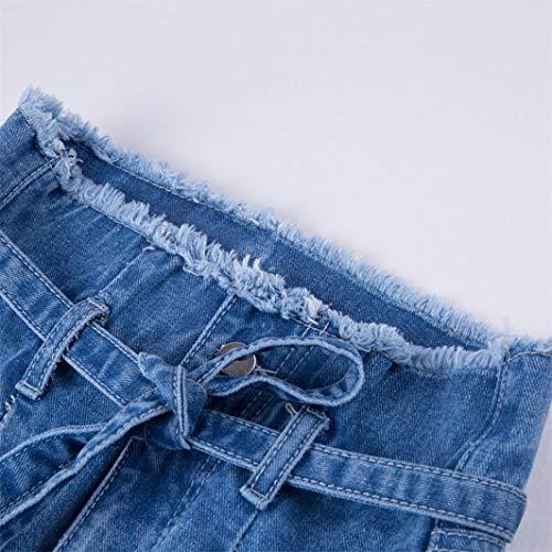 bordi Alta Pantaloni elastici Blu alta a Casuale Donna A Cintura a jeans di Da vita pantaloni vita Moda Pantaloni Trada Donna Vita Eleganti attillati alta Pantalone con wzOaqa