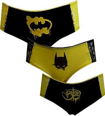 1cb3f78e9ad5 DC Comics Batman 3 Pack Lace Trim Panty Hipster Briefs for women (Large)