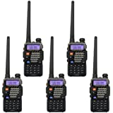 5 Pack BaoFeng UV-5R+ Plus 136-174/400-480 MHz Dual-Band Two Way Radio Black + Baofeng Programming Cable (Support WIN7,64 Bit)