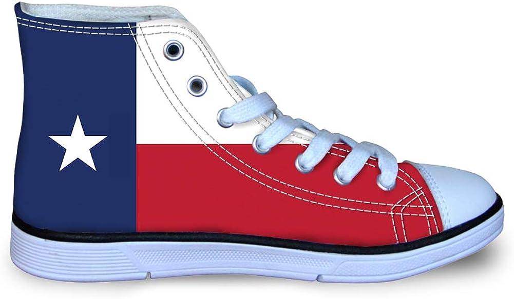 Canvas High Top Sneaker Casual Skate Shoe Boys Girls Texas Flag