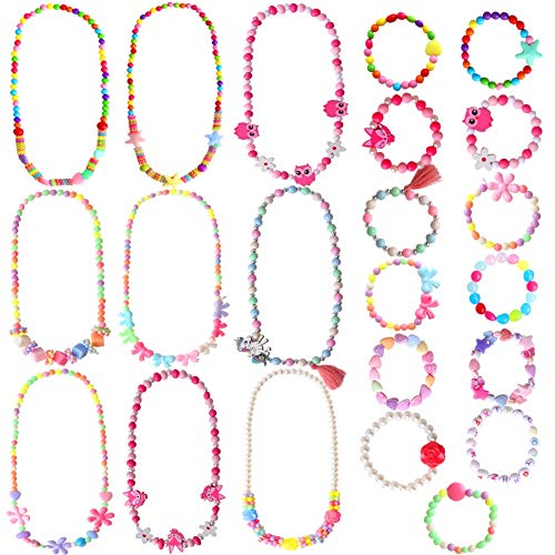 ONESING 22 Pcs Girls Play Jewelry Toddler Costume Jewelry Princess Necklace Bracelet Set Beads Necklace Bracelet for Kids Play Dress Up Pretend Play Jewelry Kit Party Favors
