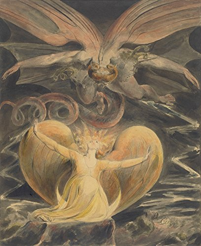 The Great Red Dragon And The Woman Clothed With The Sun By William Blake 1805 British Painting Pen And Ink With Watercolor Over Graphite (Bsloc20166239) Poster Print (24 x 36) (Graphite Dragon)
