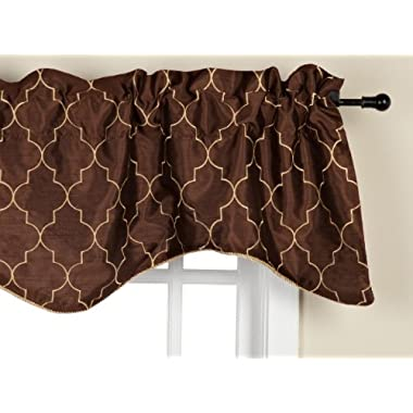 Stylemaster Hudson 52 by 17-Inch Embroidered Lined Valance with Cording, Espresso