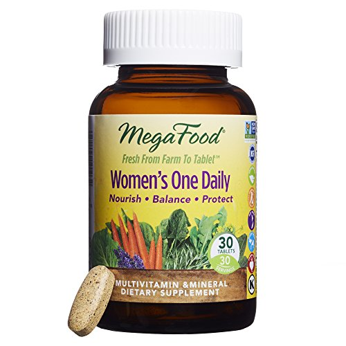 MegaFood - Women's One Daily, Multivitamin Support for Energy Production, Bone Strength, Hormone and Mood Balance with Iron and Vitamin D3, Vegetarian, Gluten-Free, Non-GMO, 30 Tablets (FFP)