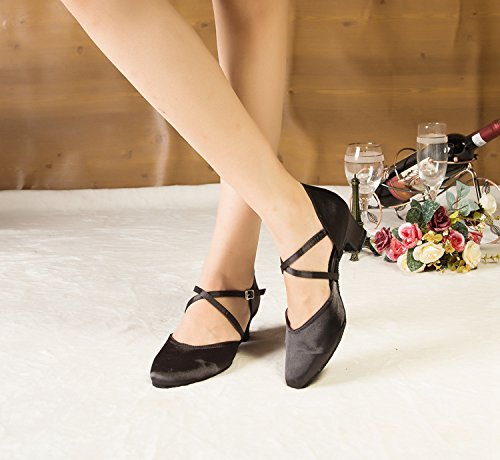 Heel Miyoopark Black Satin Wedding Ladies L116 Low 5cm Shoes Round MY Latin Heel Dance Pumps Toe rIArq