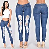 JIEPING Cultivate One's Morality Show Thin Slim Hole in Jeans Skinny Tight Long Jeans Pencil Stretch Ripped Denim Pants Plus Size XL & Dark Blue