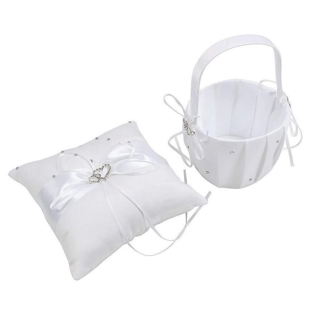 2 Heart Rhinestones White Satin Large Wedding Ring Bearer Pillow and Basket Set