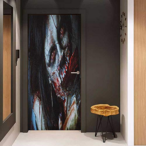 Onefzc Soliciting Sticker for Door Zombie Scary Dead Woman with a Bloody Axe Evil Fantasy Gothic Mystery Halloween Picture Mural Wallpaper W17.1 x H78.7 Multicolor]()