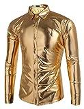 Coofandy Men's Metallic Shiny Nightclub Slim Fit Long Sleeve Button Down Party Shirts, golden, Small