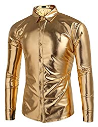 Men's Metallic Slim Fit Long Sleeve Shirts