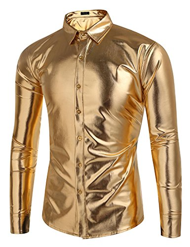 Coofandy Men's Metallic Shiny Nightclub Slim Fit Long Sleeve Button Down Party Shirts, golden, XX-Large -