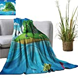 YOYI Bed Blanket Float backgroun The isl Palm Trees in The sea Comfortable