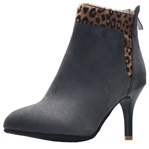 Aiyoumei Kvinners Leopard Glidelås Bak Spisse Tå Stiletthæler Solid Høst Vinter Ankel Boots Grå