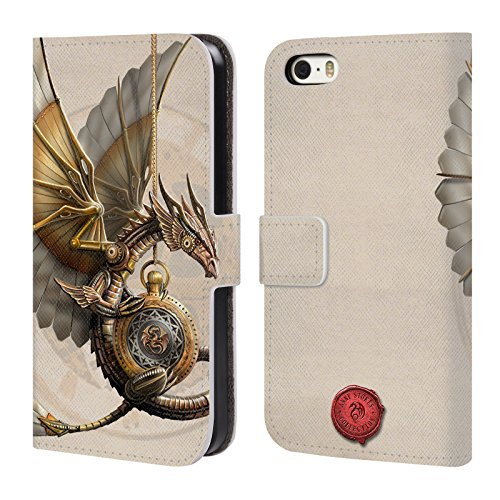 Official Anne Stokes Clockword Dragon Steampunk Leather Book Wallet Case Cover For Apple iPhone 5 / 5s / - Cover Steampunk