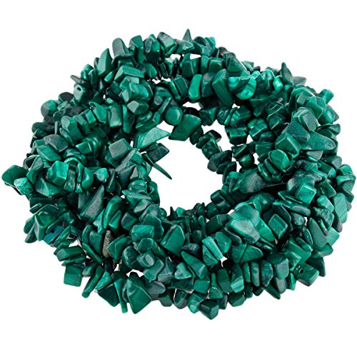 SUNYIK Malachite Tumbled Chip Stone Irregular Shaped Drilled Loose Beads Strand for Jewelry Making 35