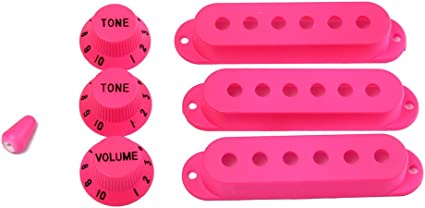 OULII Strat Guitar Pickup Covers Knobs Switch Tip Set for Fender Stratocaster Replacement Accessory Kit Black