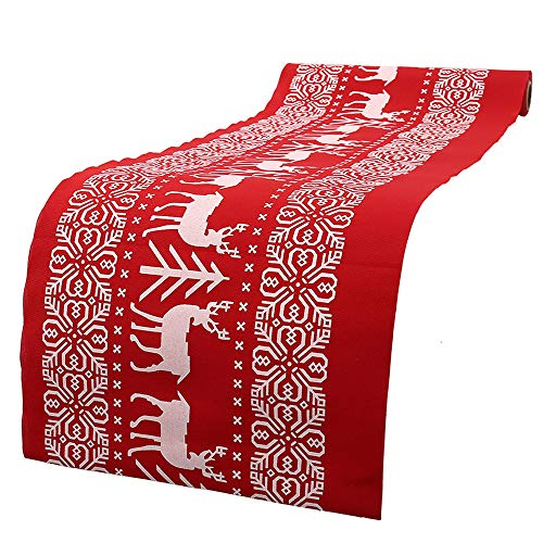 Newdanceus 12x108 Christmas Table Runner Burlap Christmas Holiday Table Runners Linens Thanksgiving Xmas Decorations Party Home Decor (1 pc, F)