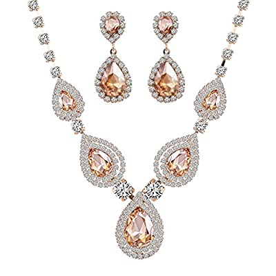 Miraculous Garden Crystal Rhinestone Necklace Earrings Jewelry Sets for Wedding