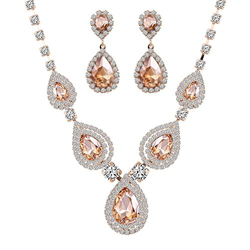 Miraculous Garden Gold Plated Crystal Rhinestone Necklace Earrings Jewelry Sets for Wedding (Gold Plated Champagne Crystal)