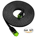 Cat6 Ethernet Cable 15ft Flat, iTLTL Network Cable Slim Internet Patch Lan Wire Pure Copper with Green Snagless RJ45 Connectors - 15 feet Black