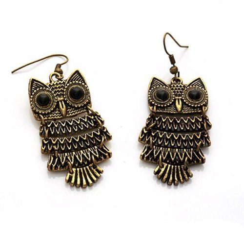 Brown Dangle Earrings (New Fashion Chic Retro Style Cute Animal Owl Dangle Ear Hook Earrings)
