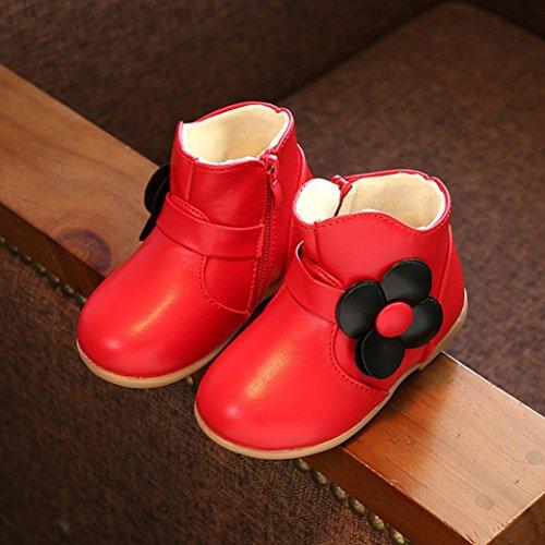TPulling Mode Kinder Mädchen Martin Stiefel Herbst Und Winter Wärme Kinder-Verdickung Lässige Schuhe Rot