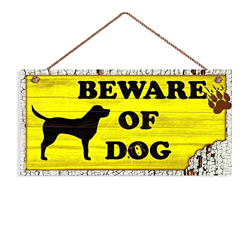 Beware of Dog Sign, Rustic Decor, Lab Dog Sign, Distressed Wood Sign, Dog Silhouette