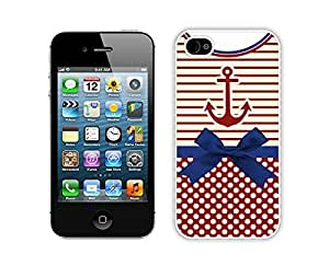 Iphone 4s White Case Durable Soft Silicone Phone Back Cover for Iphone 4 Anchor Chevron Retro Vintage Tribal Nebula Pattern