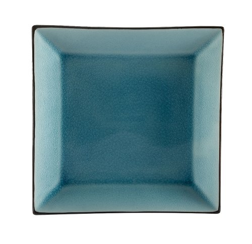 CAC China 666-8-BLU Japanese Style 9-InchLake Water Blue Square Plate, Box of 24 by CAC China