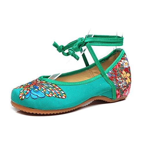 Farfalla Yiblbox Per Jane Tonda Strappy Caviglia Mary Scarpe Alla In Estate Delle Flats Donne Suola Eleganti Cheongsam Gomma Punta Shoes Ricamo Cinturino Cinese Verde Tradizionale 8U8qrBw