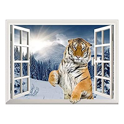 Stunning Visual, Removable Wall Sticker Wall Mural A Standing Tiger with a Paw on The Windowsill Creative Window View Wall Decor, Made to Last