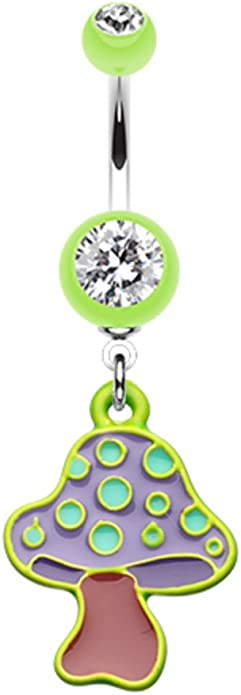 Mario 1up Mushroom 316L Stainless Steel Belly Button Ring