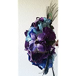 Purple Blue Turquoise Orchid Calla Lily Bridal Wedding Bouquet & Boutonniere 2