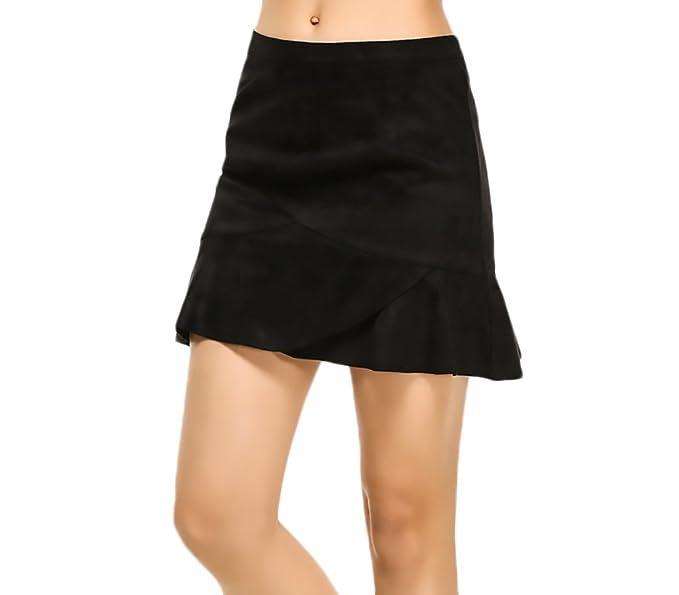 Faldas Mujer Elegantes Vintage Gamuza Faldas Cortas Color Sólido Mini Falda  Talle Alto Con Volantes Casuales Una Línea Otoño Invierno  Amazon.es  Ropa  y ... a535a59c9cb1