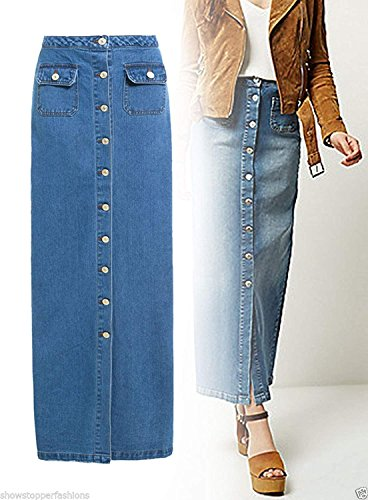 Tailles pour Jean NEUF Maxi Bleu bleu Femmes 8 jeans SS7 jupe Jeans 16 zq74C0w0