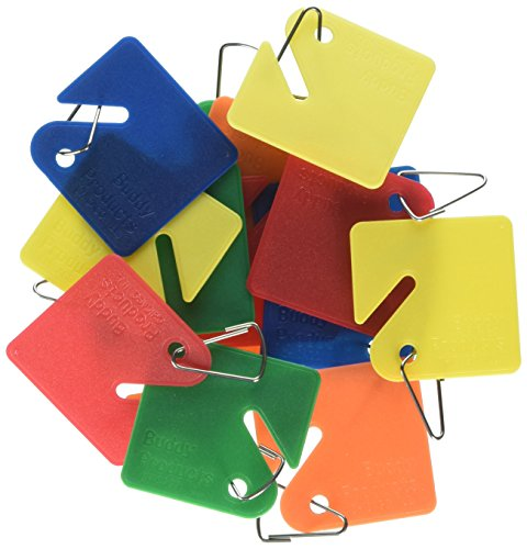 Buddy Products Blank Plastic Key Tags, Assorted Colors, Set of 15 (0011) Buddy Plastic Key Tags