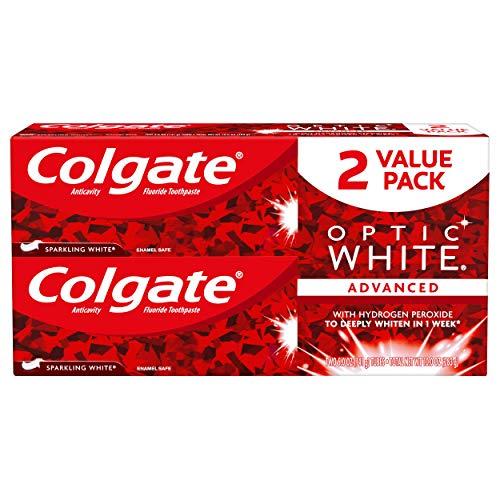 Colgate Optic White Whitening Toothpaste, Sparkling Mint – 5 oz, 2 Pack