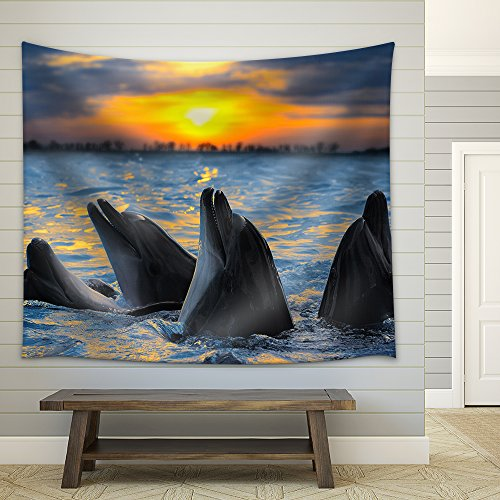 The Bottle Nosed Dolphins in Sunset Light Fabric Wall